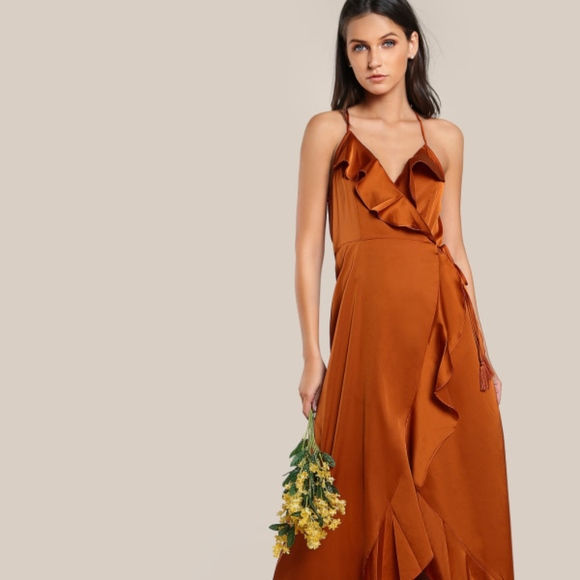 Satin Rustic Orange Ruffle Maxi Dress